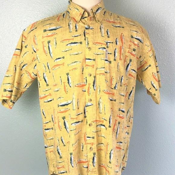 ceceed5f Columbia Shirts | Shirt Mens Size Large Yellow Trout Fish | Poshmark